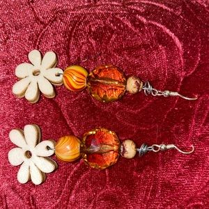 Handmade Wooden Earrings with Crystal Gem